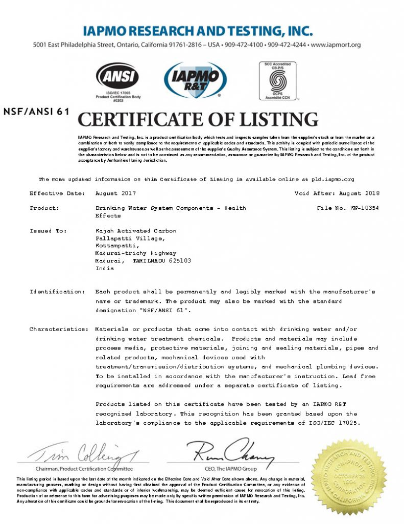 Kajah Activated Carbon NSF certificate